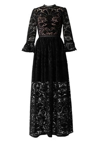 [ML Monique Lhuillier]<br>Lace Long Dress(38)-Black/Baige