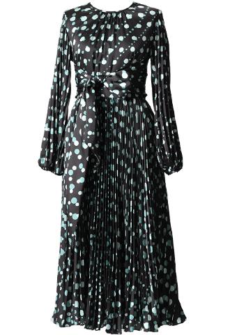 [ML Monique Lhuillier]<br>ドット柄プリーツスカート ドレス(40)-ブラック/グリーン
