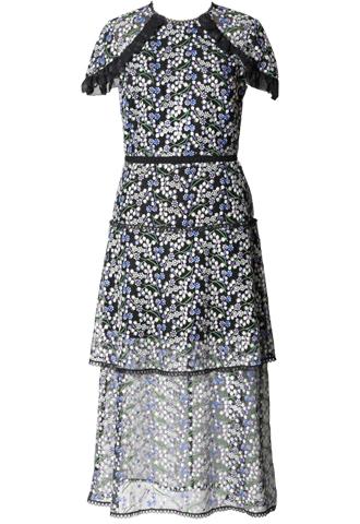 [ML Monique Lhuillier]<br>半袖刺繍レース ドレス(40)-ブルー/ブラック