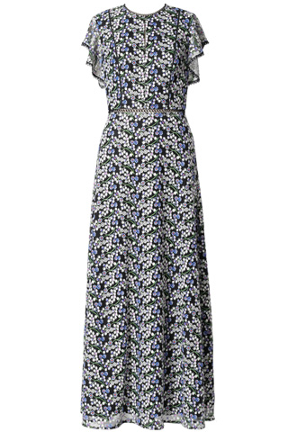 [ML Monique Lhuillier]<br>刺繍レース ロングドレス(38)-ブルー/ブラック