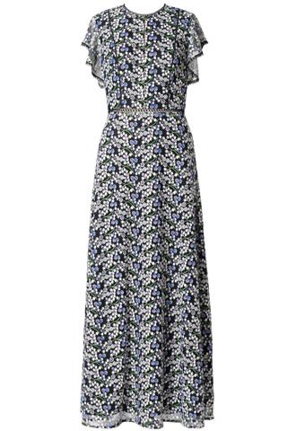 [ML Monique Lhuillier]<br>刺繍レース ロングドレス(40)-ブルー/ブラック