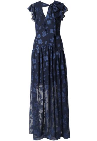 [ML Monique Lhuillier]<br>Bow Tie Long Dress(38)<br>-Navy