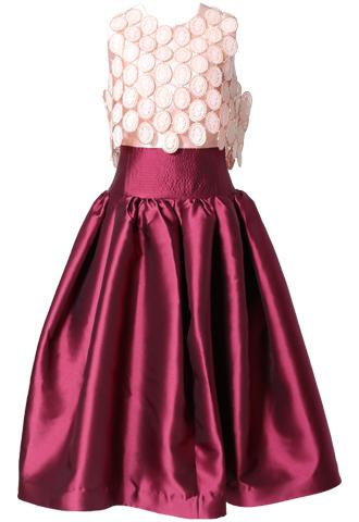 [Khoon Hooi]<br>フィットアンドフレア ドレス-ピンク/レッド