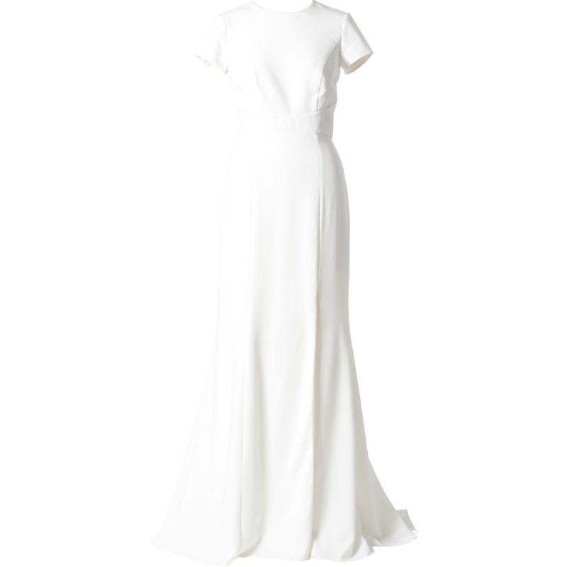 背中が大胆に開いた半袖タイトなシルエットのロングドレス。花嫁様の2次会ドレスにもとてもおススメです。