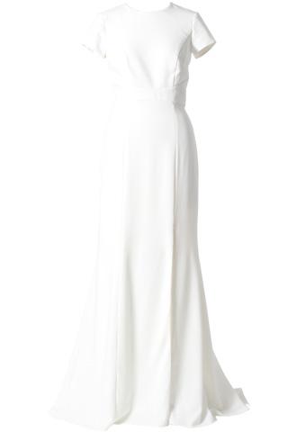 [Amsale]<br>オープンバッグ ロングドレス-ホワイト