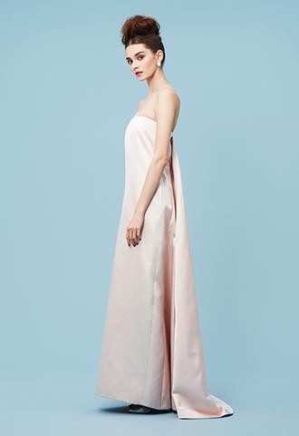 [Katie Ermilio]<br>シルクサテン ロングドレス-ピンク