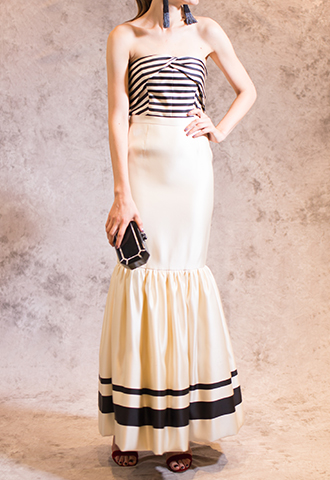 [Katie Ermilio]<br>Border Long Dress-White/Black
