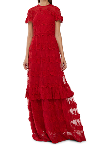 [ML MoniqueLhuillier]<br>Floral Lace Dress-Red