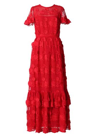 [ML MoniqueLhuillier]<br>Floral Lace Dress-Red