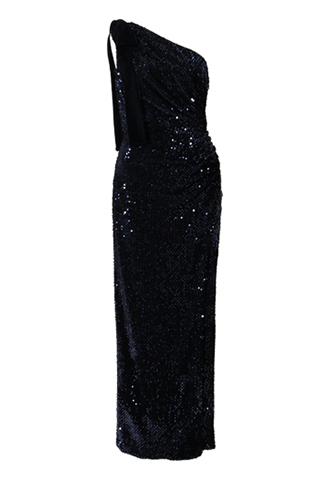[ML Monique Lhuillier]<br>Sequin One shoulder Dress-Navy