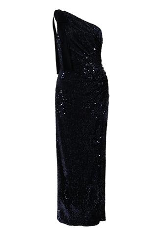[ML Monique Lhuillier]<br>Sequin One shoulder Dress-Navy