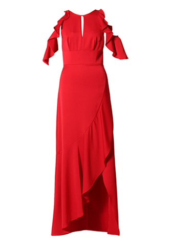 [ML Monique Lhuillier]<br>Ruffle Sleeve Long Dress