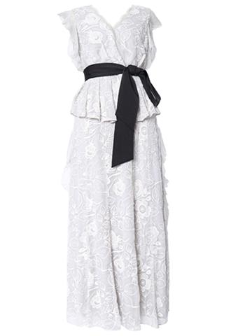 [ML Monique Lhuillier]<br>Chiffon Floral Dress