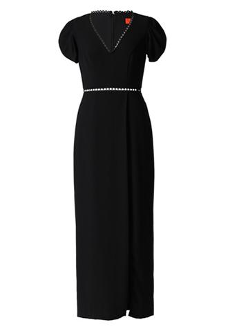 [ML Monique Lhuillier]<br>半袖スリット ロングドレス-ブラック