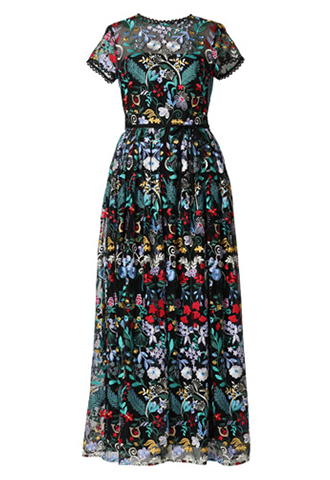 [ML Monique Lhuillier]<br>Embroidered Long Dress(36)-Black