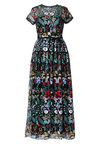 [ML Monique Lhuillier]<br>Embroidered Long Dress(38)-Black