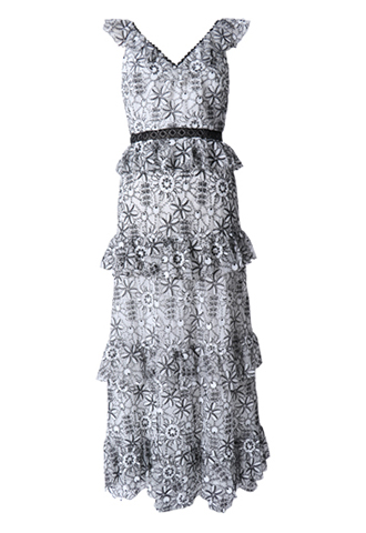 [ML Monique Lhuillier]<br>Embroidered Frill Dress(38)-Black/White