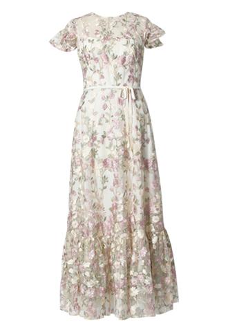 [ML Monique Lhuillier]<br> Embroidered Lace Long Dress(38)-White/Beige