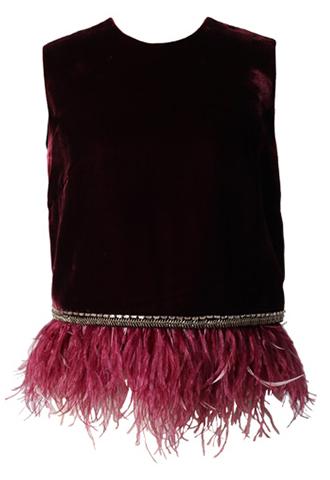 裾元にフェザーが施された、ベルベット素材のワインレッドのトップス