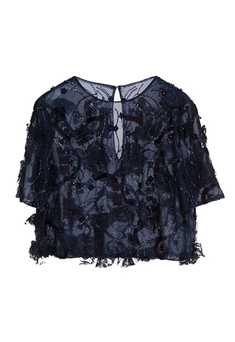 【Monique Lhuillier】EMBROIDERED SLEEVE TOPS