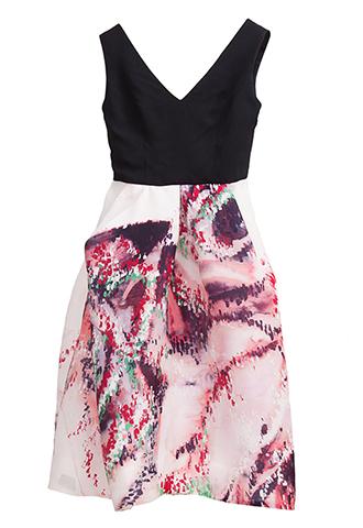 【Monique Lhuillier】BI COLOR PRINT DRESS(38)