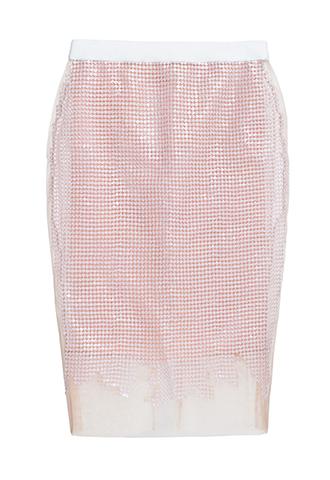 ベージュピンクのスパンコール刺繍が全体に施されているタイトスカート