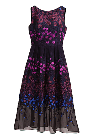 [Lela Rose]<br>Flower Embroidered Dress-Navy