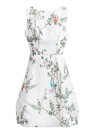 【Monique Lhuillier】BIRD PRINT SHORT DRESS