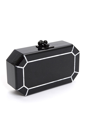 [Edie Parker]<br>Acrylic Clutch Bag-Black