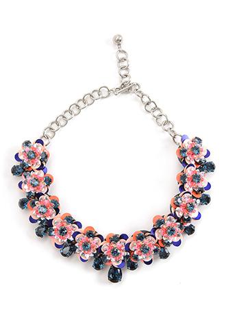 ピンク、ブルー、シルバーのビジューとスパンコールできたフラワーモチーフが幾重もつながった、付け襟のようなネックレス