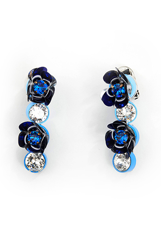 [Shourouk]<br>Flower Jeweled Earrings-Blue